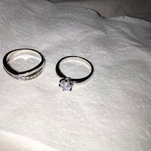 WEDDING BAND(14ct VS1 cathedral stone